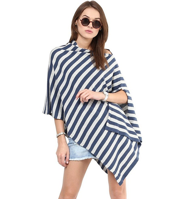 blue and white striped poncho