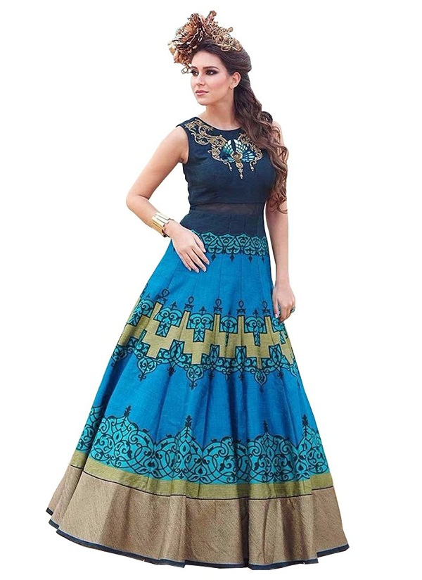 Blue Digital Printed Long Anarkali Frock Suit
