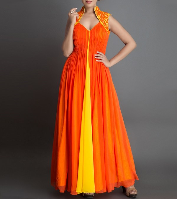 Orange Chiffon Frock Style Anarkali Suit