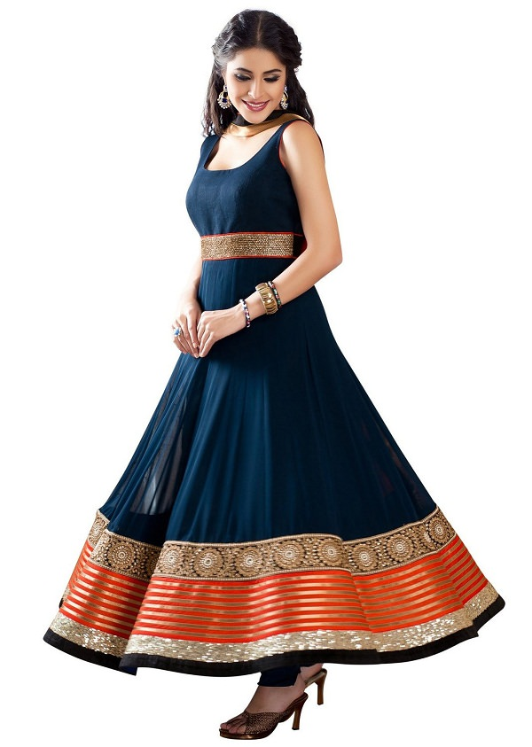 Blue Color Long Anarkali Frock Suit