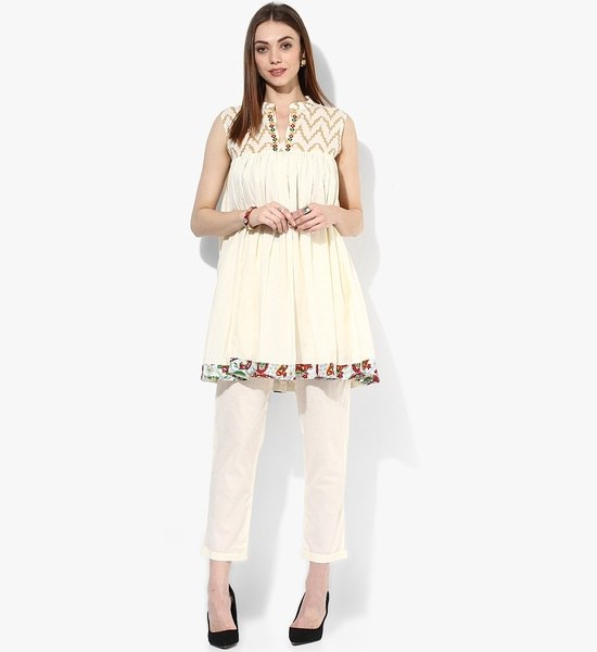 Sangria Off White Color Short And Flared Printed Frock Style Suit