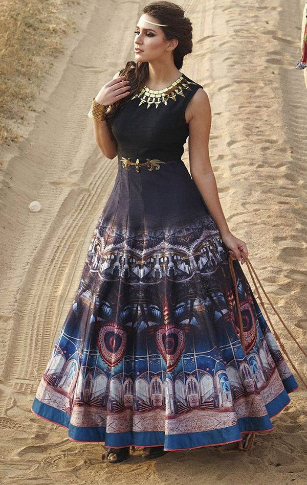 Multicolour Printed Long Anarkali Frock Salwar Suit