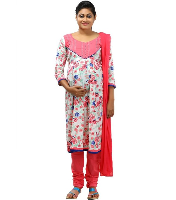 pink floral long sleeve maternity salwar suit