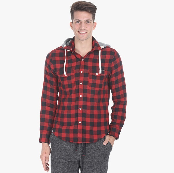 zobello green checked regular fit casual shirt with hood behind