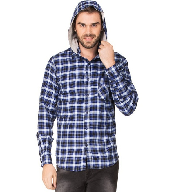 zovi blue checked hooded shirt for men
