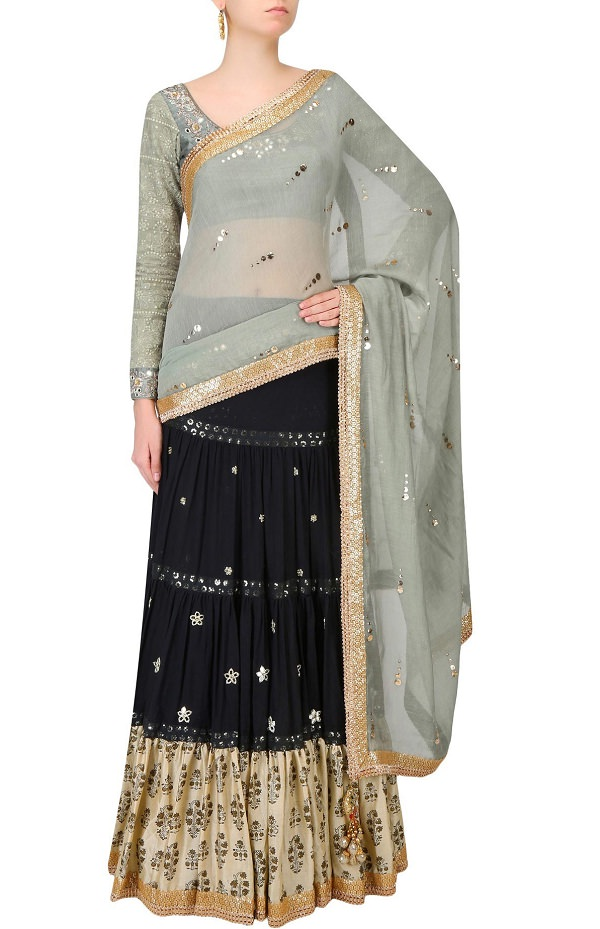 black-and-green-triple-layered-embroidered-saree-by-vikram