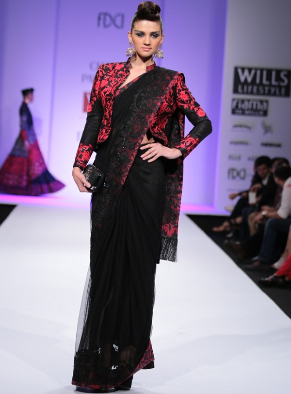 black-and-red-saree-with-jacket-trench-coat
