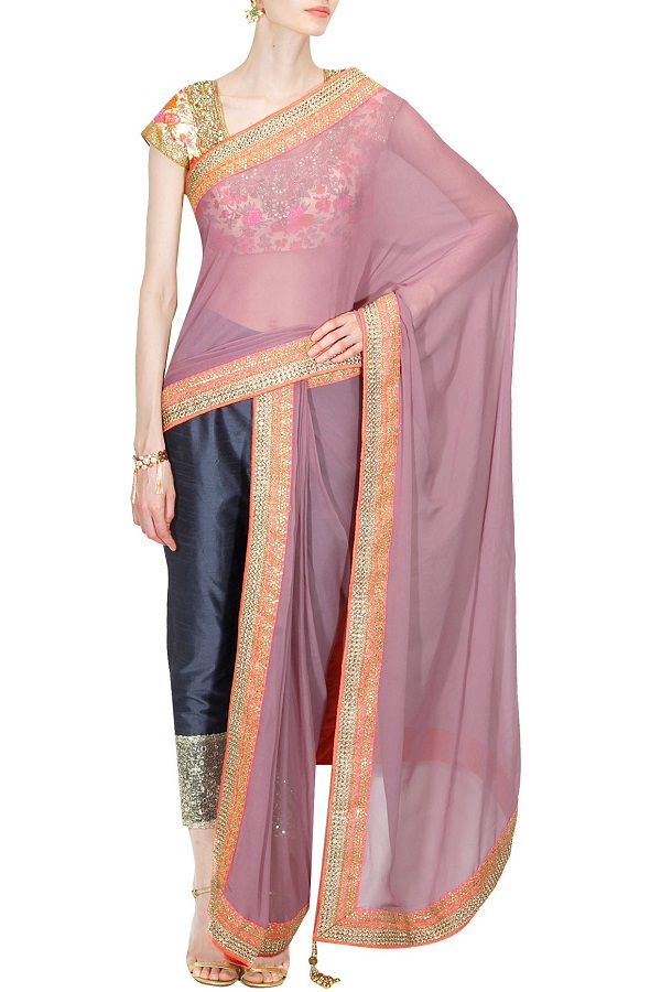 mauve-embroidered-pre-draped-saree-with-navy-pants-and-blouse-by