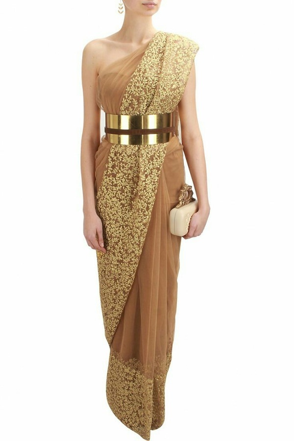nude-and-gold-floral-thread-embroidered-saree-with-metal-belt
