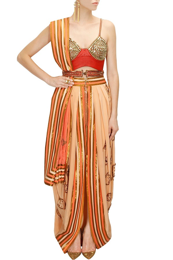 orang-draped-dhoti-sari-with-red-embroidered-bustier-by-anaikka
