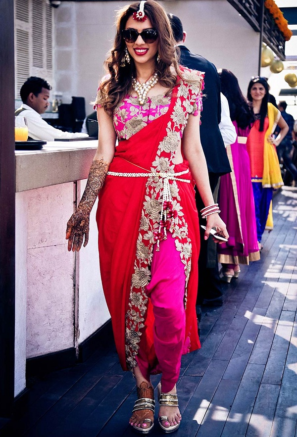red-and-pink-saree-with-dhoti