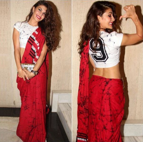 red-and-white-saree-with-crop-top