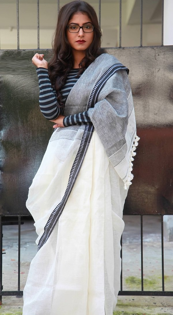 how to wear a sari with t shirt