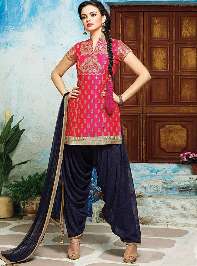 cbazaar-pink-stitched-patiala-suit, patiala suits design, latest trend of punjabi suits