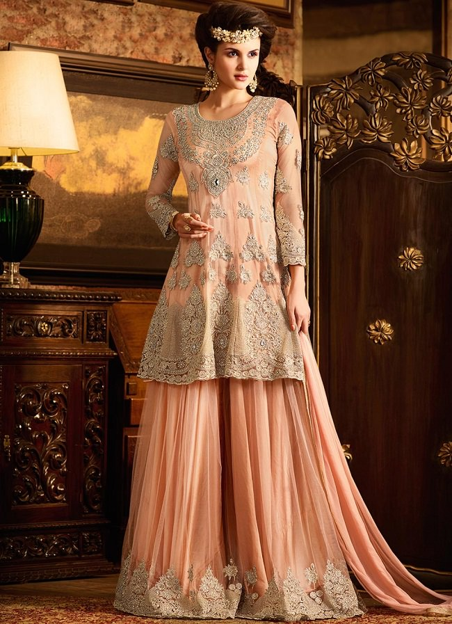 partywear palazzo suits, punjabi suits with palazzo pants, new fashion in palazzo suits