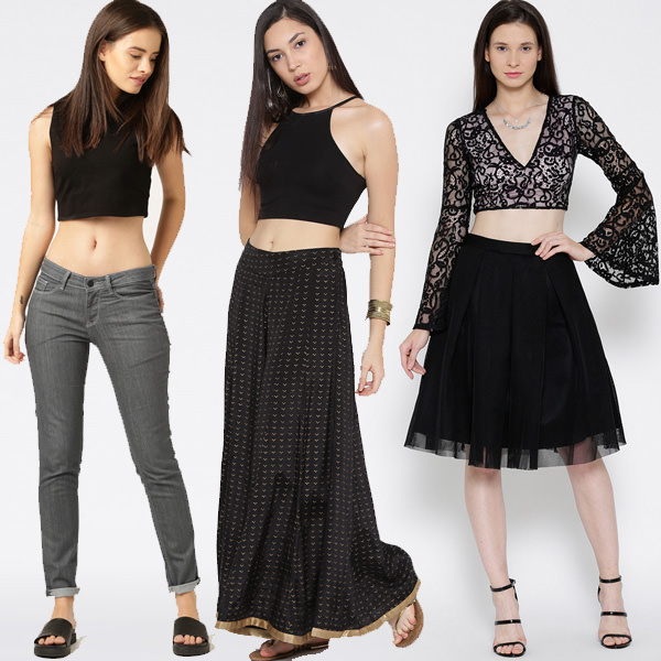 Crop tops with jeans, palazzo and skirt