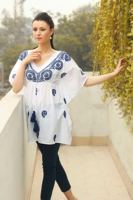 embroidered kaftan style kurti with jeans