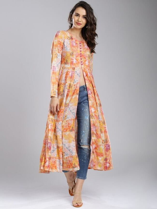 high slit kurti with ankle length jeans