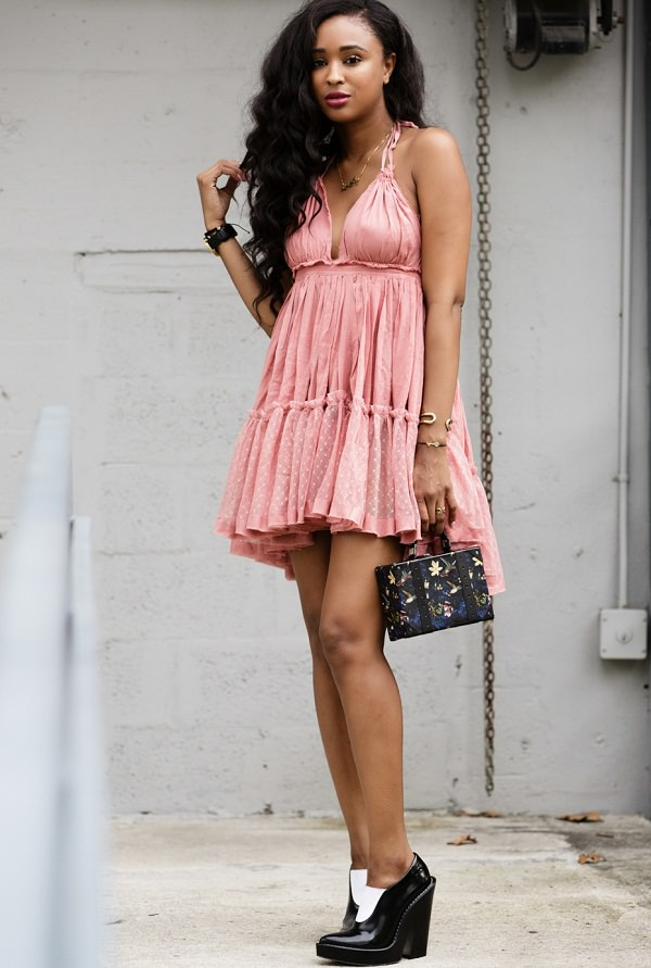 Babydoll Dresses with Studs and Statement Necklace