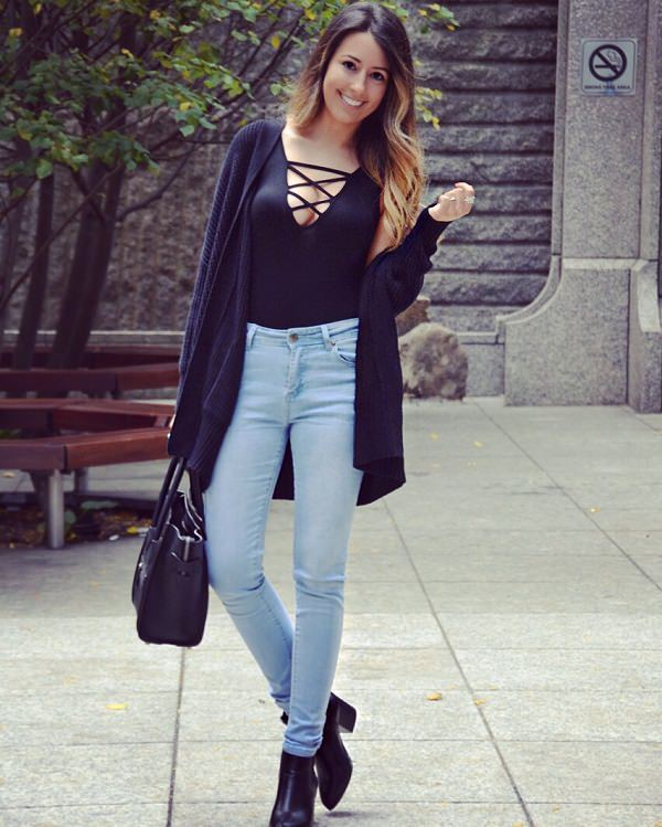 Style to wear bodysuit with sweater and jeans in winter