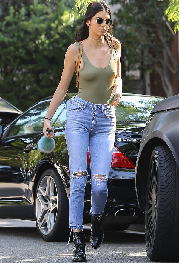 Women in jeans and bra
