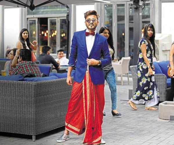 Dhoti with a Blazer and a Bow Tie