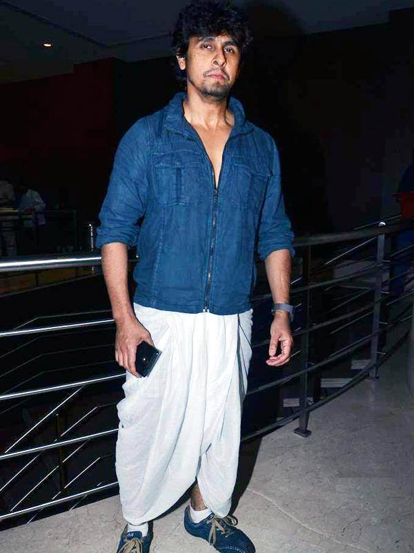 Dhoti with Denim Shirt