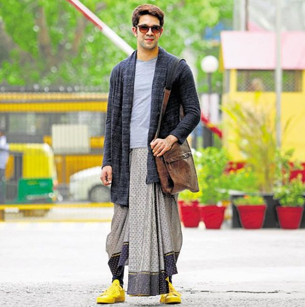 Dhoti with Tee and Cardigan