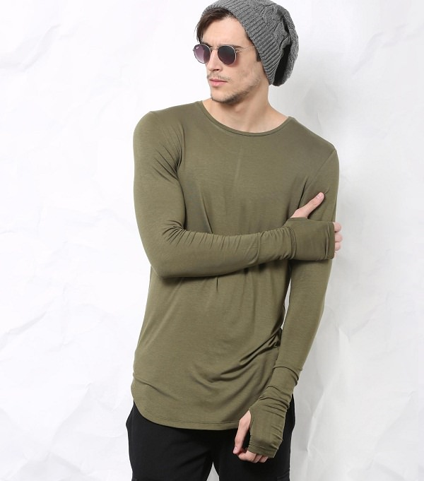 Buy Skult Olive Longline Cotton Solid Thumbhole Tee online from abof