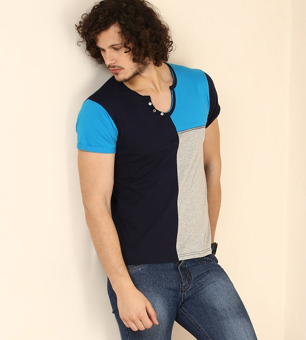 Yepme Blue Gray Cotton Solid Scoop Neck T-shirt