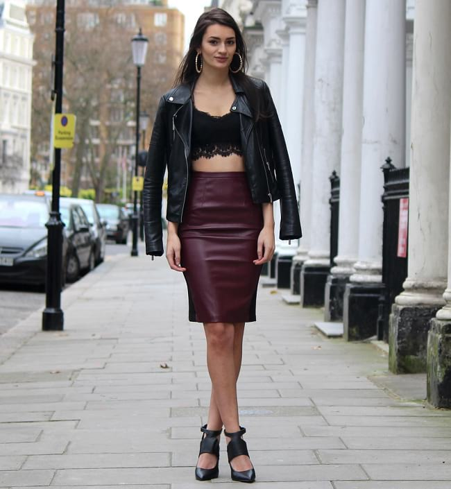 wearing bralette as top with high waist skirt