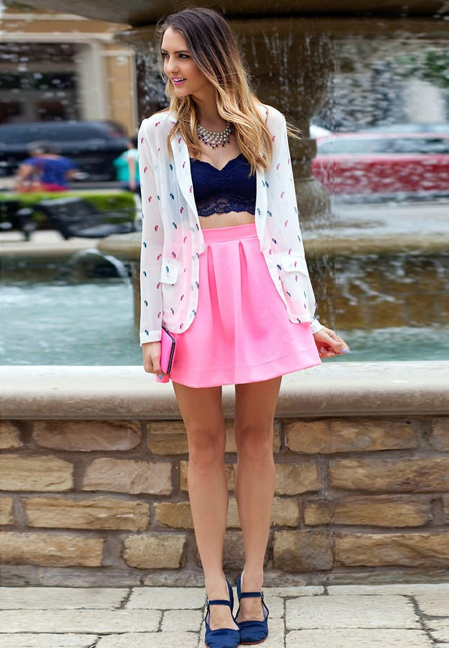 wear printed shirt over bralette and pair it up with skirt