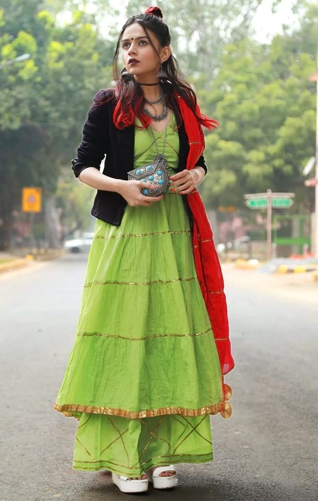 create the fusion like fashion pro by pairing anarkali suit with jacket