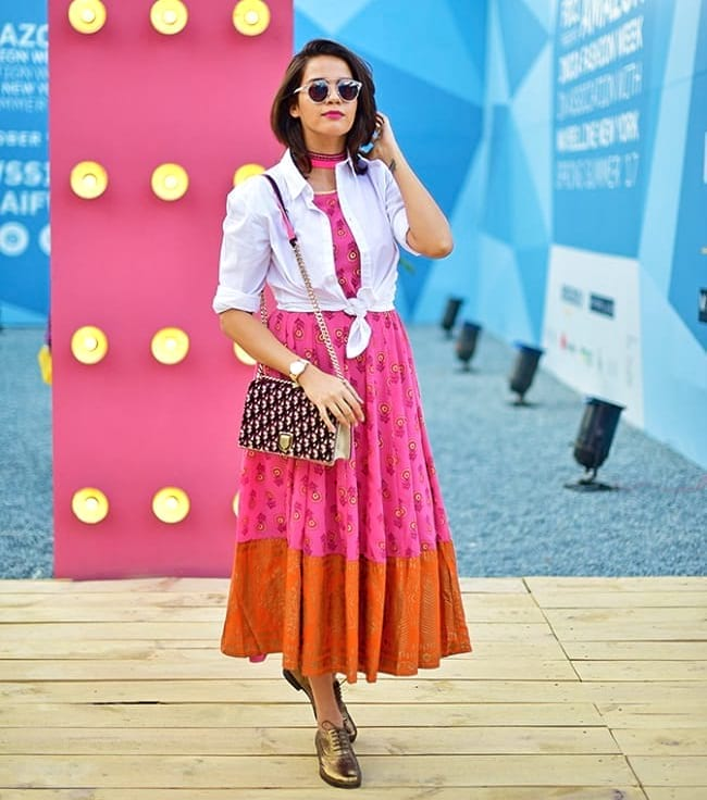 create the fusion like fashion pro by pairing anarkali with knotted shirt