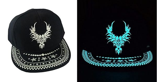 black sport snapback cap glow in the dark