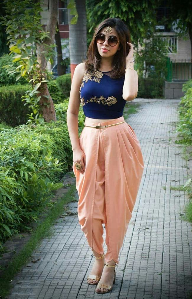 create the fusion like fashion pro by pairing choli with dhoti pant