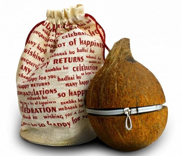 Pack your Eco Friendly Gifts in Real Coconut with Zipper