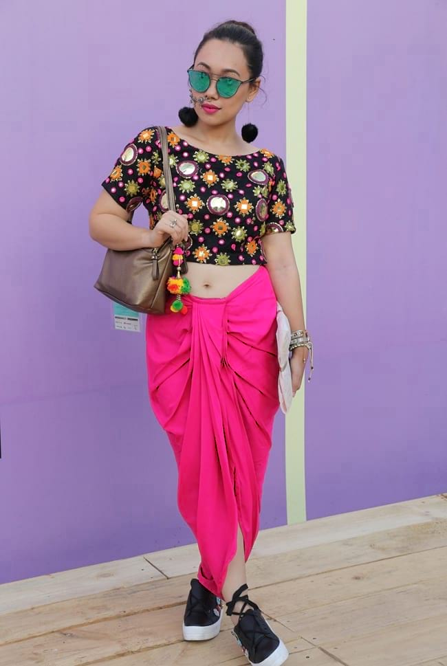create the fusion like fashion pro by pairing dhoti pants with embroidered choli & trainers