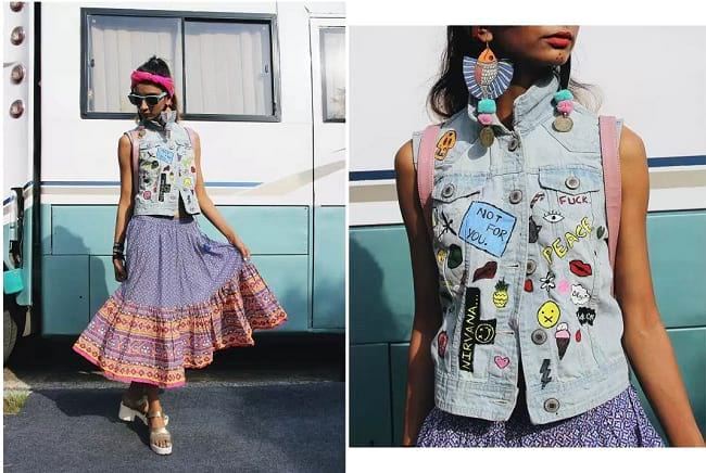 create the fusion like fashion pro by pairing ethnic skirt with quirky denim jacket