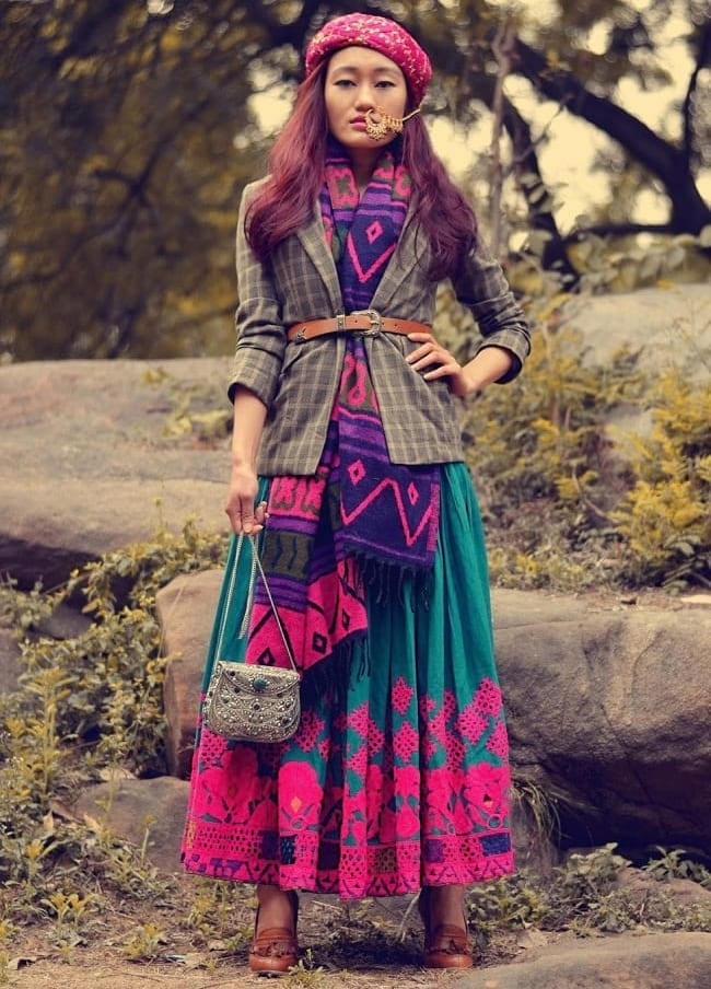 create the fusion like fashion pro by pairing ethnic skirt with stole, blazer & belt
