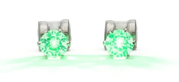 Become the Center of Attention By Flashing Green LED Earrings