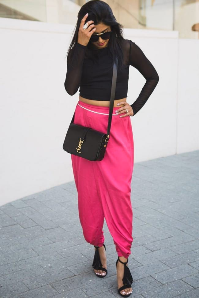 create the fusion like fashion pro by pairing harem pants and crop top