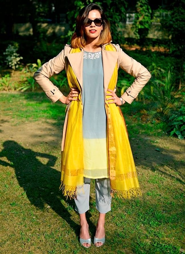 create the fusion like fashion pro by pairing kurti with trouser, trench coat & dupatta