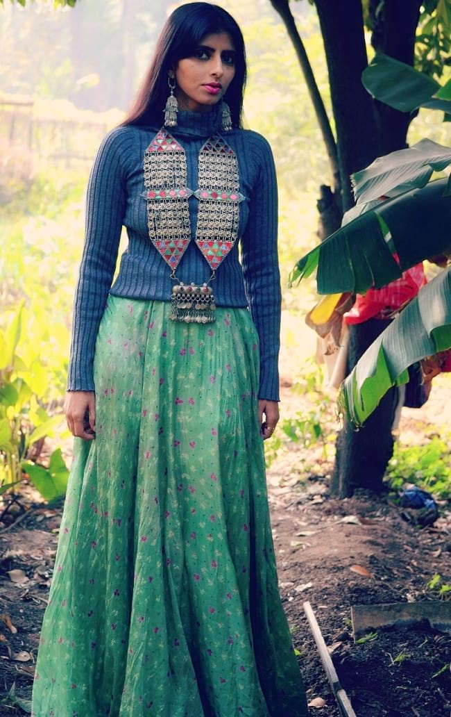 create the fusion like fashion pro by pairing lehenga with turtle neck sweater