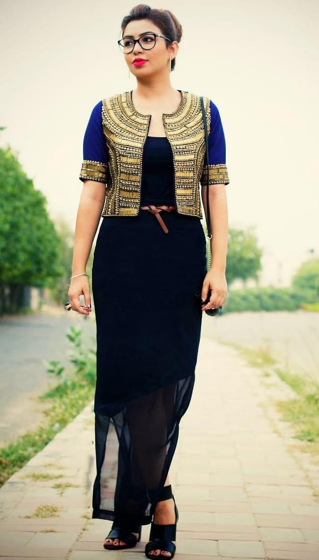 create the fusion like fashion pro by pairing maxi dress with ethnic jacket