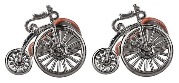 Park Avenue Silver Metal Cycle Style Cufflinks