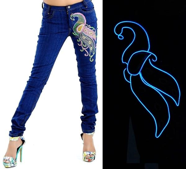peacock embroidered glow in the dark jeans