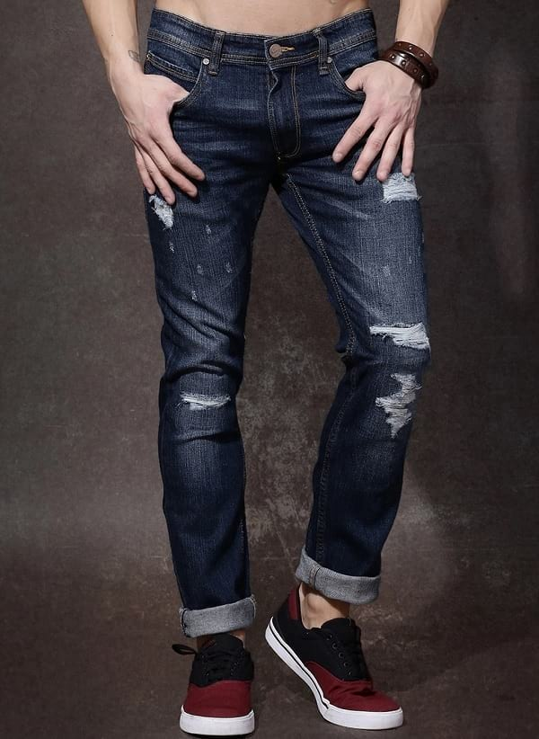 roadster blue cotton ripped mid rise slim fit jeans