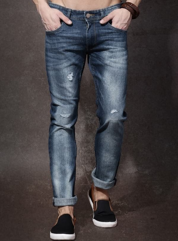 roadster blue mid rise slim fit jeans