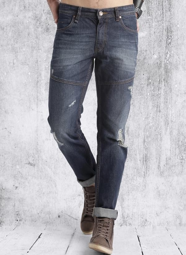 roadster blue washed ripped mid rise slim fit jeans